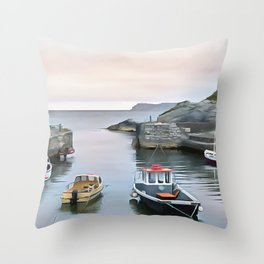 Ballintoy Harbour, Ireland. (Painting) Throw Pillow