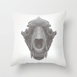 Grizzly Skull Throw Pillow