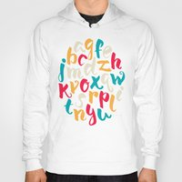 lettering Hoodies featuring Lettering ABC by Sudjino