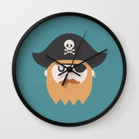 pirate Wall Clocks featuring Pirate by Beardy Graphics