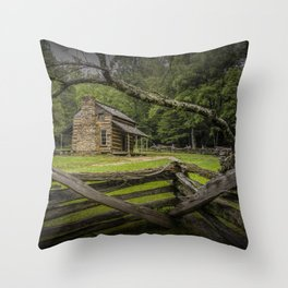Oliver Log Cabin in Cade's Cove Throw Pillow
