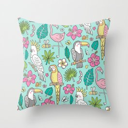 Tropical Jungle Birds Toucan Flamingo and Pink Hibiscus Floral Flowers Leaves Paradise Mint Throw Pillow