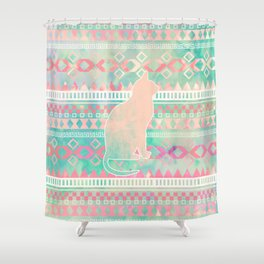 Whimsical Cat, Pink Turquoise Girly Aztec Pattern Shower Curtain