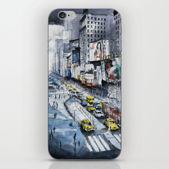 Time square - New York City - Illustration watercolor painting iPhone & iPod Skin