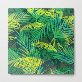 EXOTIC TROPICAL GREEN PALM CLUSTER PATTERN Metal Print