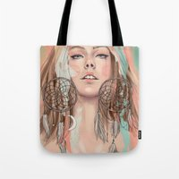dreamcatcher Tote Bags featuring Dreamcatcher by Chelsea Hantken