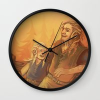 fili Wall Clocks featuring Fili and Frerin by MelColley