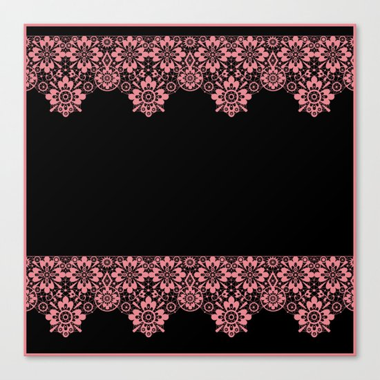 Retro .Vintage . Pink lace on a black background . Canvas Print