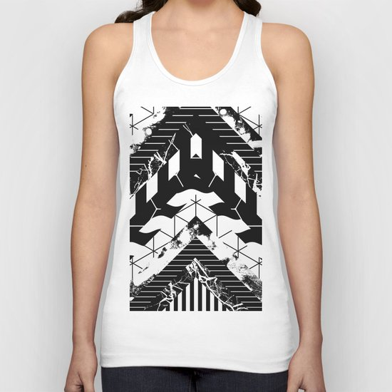 Layered (Black and white, abstract, geometric designs) Unisex Tank Top