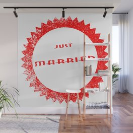 Just Married Ink Stamp Wall Mural