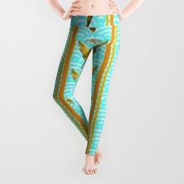 GOLD & BLUE TROPICAL MACAWS VERTICAL ART Leggings