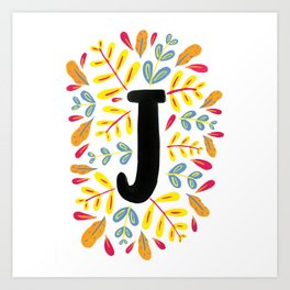 Letter 'J' Initial/Monogram With Bright Leafy Border Art Print