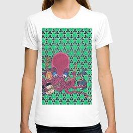 Kuniyoshi Musical Octopus with Bishamon Kikko Background T-shirt