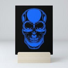 Skull In Blue And Black Halloween Art Cool Simple Design Mini Art Print