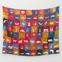 planes Wall Tapestries featuring Life in the squares, colors, animals, planes, spaceships, ships by JBLITTLEMONSTERS