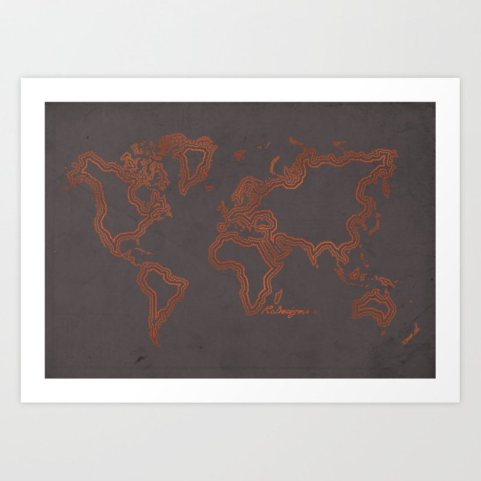 Rose gold world map art print by rsteesndesigns society6 rose gold world map art print gumiabroncs Image collections