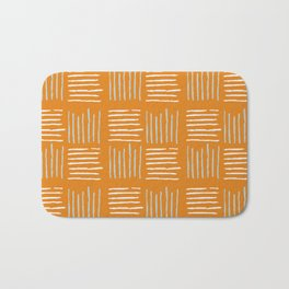 Textile lines pattern on mustard Bath Mat