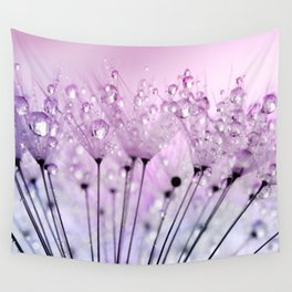 Dewdrop Blush / Water Droplets Dandelion Seeds Wall Tapestry