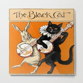 The Black Cat & White Rabbit Metal Print