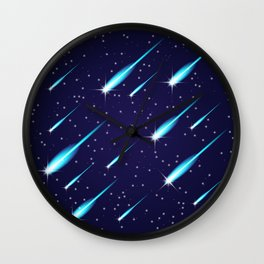 Flying meteors. Wall Clock