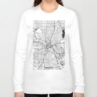 dallas Long Sleeve T-shirts featuring Dallas Map Gray by City Art Posters