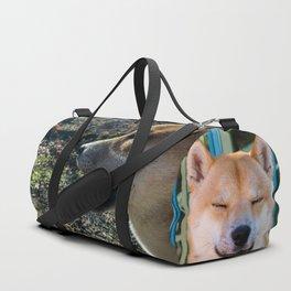 Shiba Inu profile in the woods Duffle Bag
