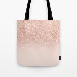 Rose gold faux glitter pink ombre color block Tote Bag
