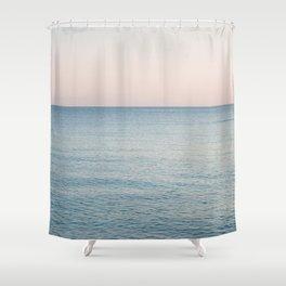 PINK SKY, BLUE SEA, EVENING SWIM Shower Curtain