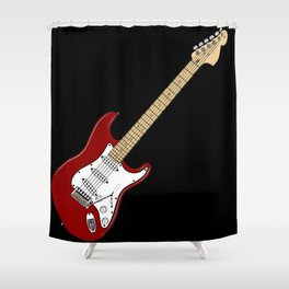 Red Stratocaster drawing (Inclined) Shower Curtain