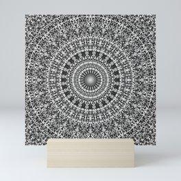 Grey Lace Ornament Mandala Mini Art Print