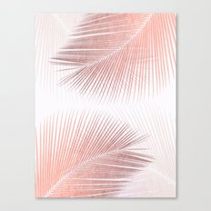 Palm leaf synchronicity - rose gold Canvas Print