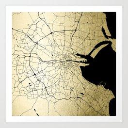 Dublin Ireland Green on White Street Map Art Print