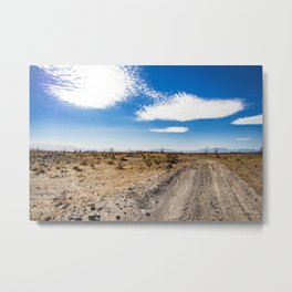 Lonely Dirt Road Cutting through the Barren Desert in the Anza Borrego Desert State Park Metal Print