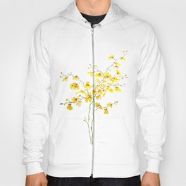 yellow Oncidium Orchid watercolor Hoody