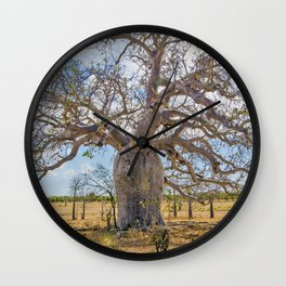Boab and clouds Wall Clock