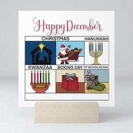Happy December Holiday Christmas, Hanukkah, Kwanzaa, Boxing Day, St Nicholas Day Design Mini Art Print