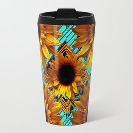ANTIQUE GOLDEN SUNFLOWER TURQUOISE MODERN ART Travel Mug