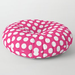Pink and white polka dots pattern Floor Pillow