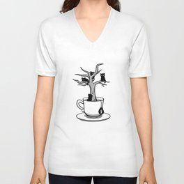 Bare tree with cats growing inside a cup of tea Unisex V-Neck