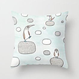 blue foot boody Throw Pillow