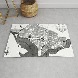 Vintage Map of Washington D.C. (1793) BW Rug