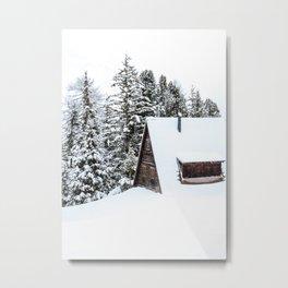 Log Cabin in the Snow, Winter Wall Art Metal Print