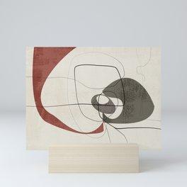 Minimalist Abstract Art Shapes - Scribbles Earth Red 2 Mini Art Print