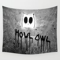howl Wall Tapestries featuring Howl Owl Graffiti by Eyeshoot Photography