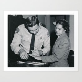 African American Portrait - If Rosa Parks Rode a Bus Today? black and white photography / photograph Art Print