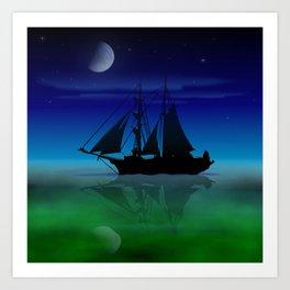 Sailing On A Sea of Green. Art Print