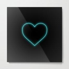 Aqua Blue Neon Valentines Love Heart Metal Print