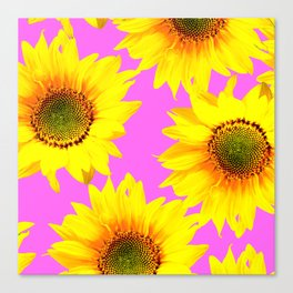 Large Sunflowers on a pink background - #Society6 #buyart Canvas Print