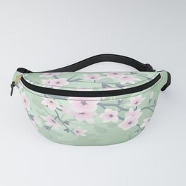 Pink Cherry Blossom Green Background Fanny Pack