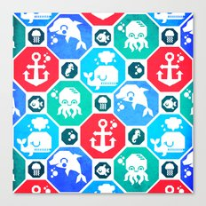 Marine Animals Geometric Pattern Canvas Print